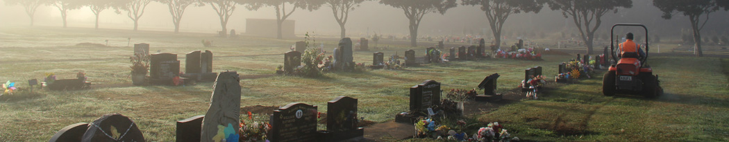 Mowing at the Waihi Cemetery